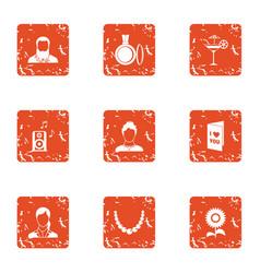 money decoration icons set grunge style vector image