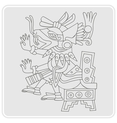 monochrome icon with symbols from Aztec codices vector image