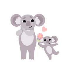 Mother koala and its baby cute animal family vector