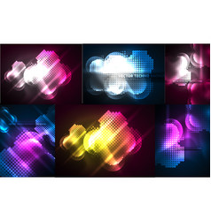 Neon light effects abstract background set vector