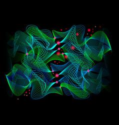 Neuron waves on black background stylized vector
