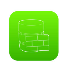 Not available database icon green vector