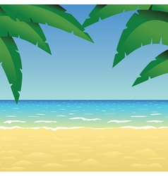 Ocean sand beach and palm vector image