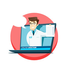 Online young doctor advises on the internet vector