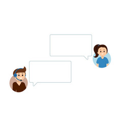 people having online chat support service empty vector image