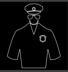 Police white color path icon vector