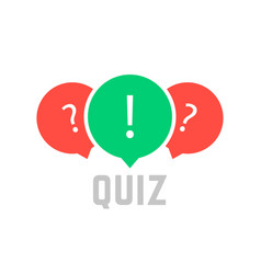 quiz button with speech bubble vector image
