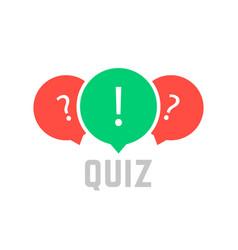 quiz button with speech bubble vector image vector image