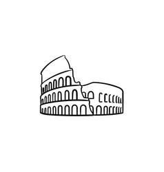 Rome coliseum hand drawn outline doodle icon vector