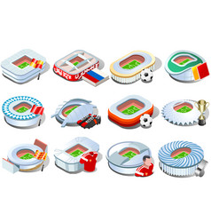 Russian stadium world cup icons vector