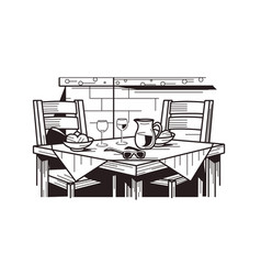 served table in restaurant vector image