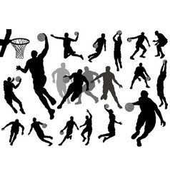 set basketball players silhouettes vector image
