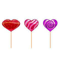 Set colorful heart-shaped lollipops good vector