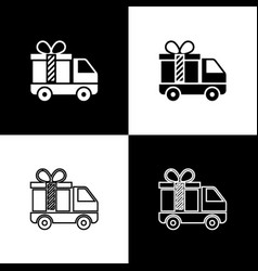 Set delivery truck with gift icon isolated on vector