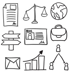 Set of business object doodles vector