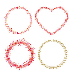 Set of frames made from hearts collection wreaths vector