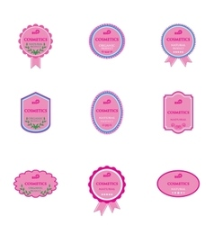 Set of labels for bio cosmetics vector
