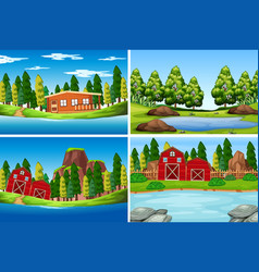 Set of outdoor scenes vector