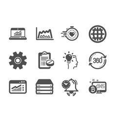 set science icons such as trade chart web vector image