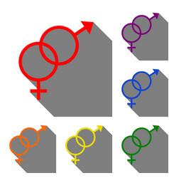 Sex symbol sign set of red orange yellow green vector