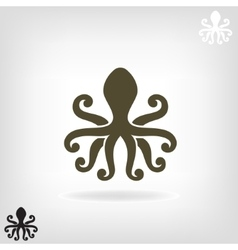 Silhouette of an octopus on light background vector image