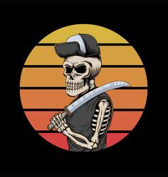 skull gangster sunset retro vector image