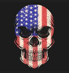 skull usa flag vector image
