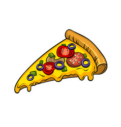 Slice of pizza pop art vector