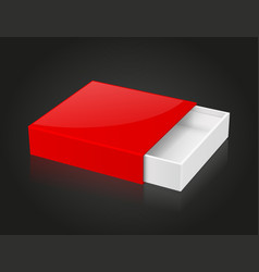 Slider box red blank open box mock up on black vector