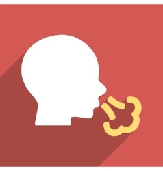 Sneezing Head Flat Longshadow Square Icon vector