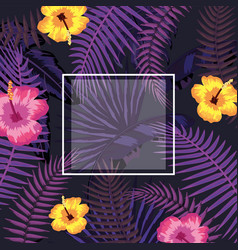 square frame wuth branches leaves and flowers vector image