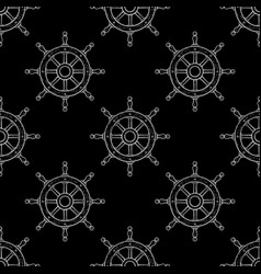 steering wheel seamless pattern outline hand vector image