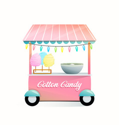 Street market stand with cotton candy trade stall vector