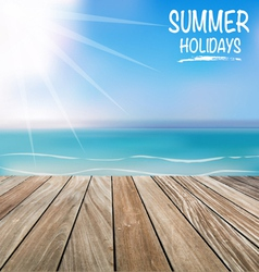 Summer holiday background with wood terrace vector