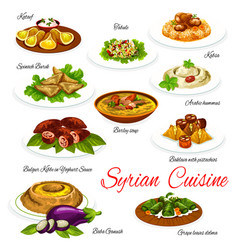 Syrian food vegetable meat and dessert dishes vector