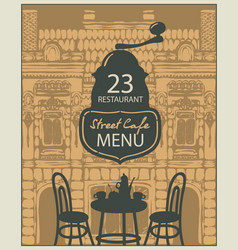 Template street cafe menu with table for two vector