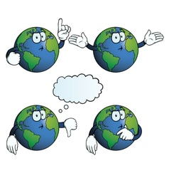 Thinking earth globe set vector