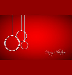Three white christmas balls with strings vector