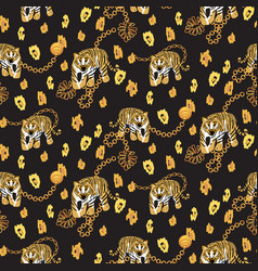 Tiger and chain gold pattern fashion spotted wild vector