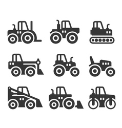 Tractors Farm and Buildings Machines Icons Set vector