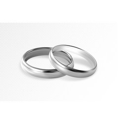 Two silver or platinum wedding rings vector