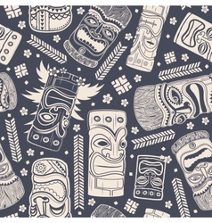 Vintage Aloha Tiki seamless pattern vector