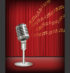 vintage microphone with floating sample music vector image