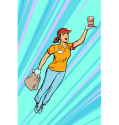 waitress coffee fast food delivery flying vector image