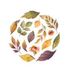 Watercolor card with autumn leaves vector