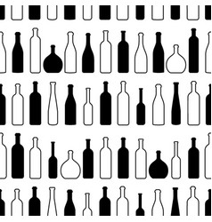 Wine bottles silhouette outline red seamless vector