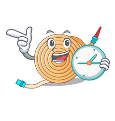 With clock garden water hose cartoon vector
