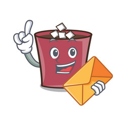 with envelope hot chocolate character cartoon vector image