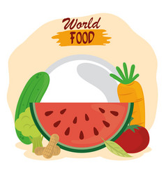 world food day healthy lifestyle fresh fruits vector image