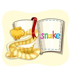 Yellow snake and a book vector